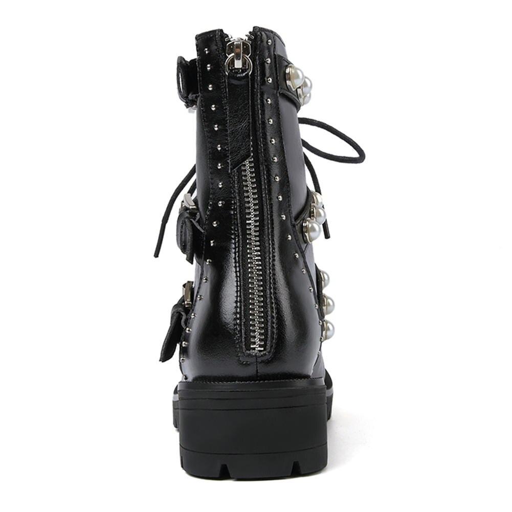 MStacchi nouvelles femmes Rivet bottes en cuir véritable bottes perle femme chaussures boucle décontracté bottes chaussures femme bottines Botas Mujer - 3