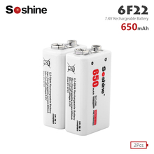 Soshine 2pcs 650mAh 9V 6F22 PPP3 6LR61 Battery Li-ion Lithium Rechargeable Batteries for Electronic Smoke Guitar Alarm Toys