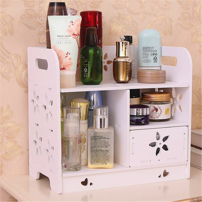 27cm Wood Shelf Makeup Drawer Hollow Flower 2 Layer Storage Holder Decorative Shelve Wedding Table Home Decoration AP200