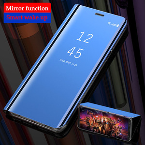 Smart Leather Flip Stand Mirror Case For Samsung Galaxy S10 S8 S9 Plus S7 S6 Edge Note 8 9 Galaxy A60 A80 A90 A40 A50(China)