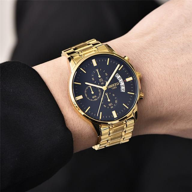 NIBOSI Waterproof Business Watches Men Luxury Brand Quartz Military Watch Leather Steel Men's Wristwatch relogio masculino 2