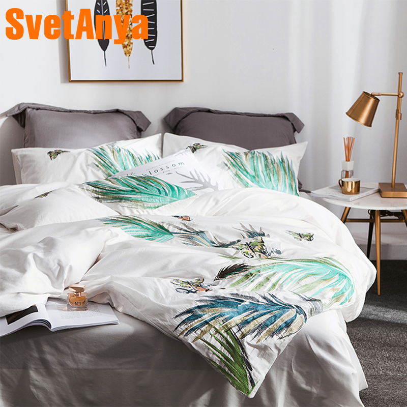 Svetanya white Leaves Embroidered Bedding Sets Queen King Size Bedlinen egyptian Cotton ( Sheet Pillowcase Duvet Cover Set )Svetanya white Leaves Embroidered Bedding Sets Queen King Size Bedlinen egyptian Cotton ( Sheet Pillowcase Duvet Cover Set )