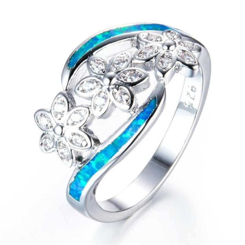 Marcatsa New Fashion 925 Sterling Silver Filled Blue Fire Opal Ring White AAA Zircon Flower Rings for Women Wedding Jewelry Gift