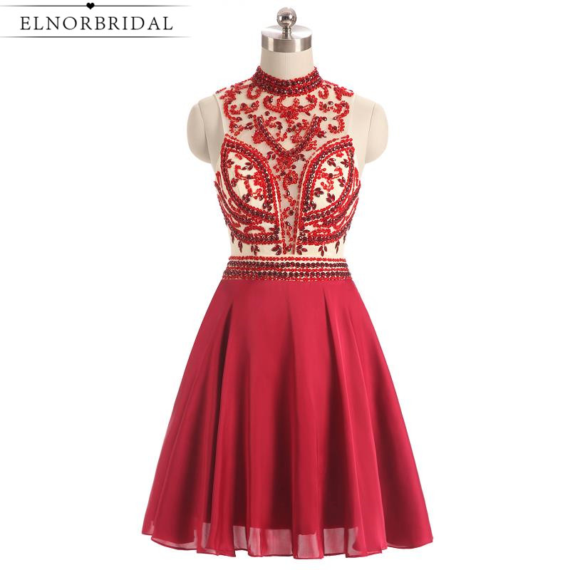 Red Beading   Cocktail     Dresses   2019 Sexy Short Prom   Dress   Robe De   Cocktail   Noire Beading Mini Special Occasion Homecoming Gowns