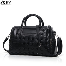 Designer High Quality Sheepskin Women Leather Handbag Ladies Shoulder Messenger Bags Famous Brands Woven Rivet Bags