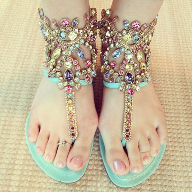 6dd3ff1f2adbaf Crystal Embellished Metallic Wedge Sandals Flip Flops Gladiator Sandals  Women Shoes Flats Bohemia Summer Style Sandalias Mujer