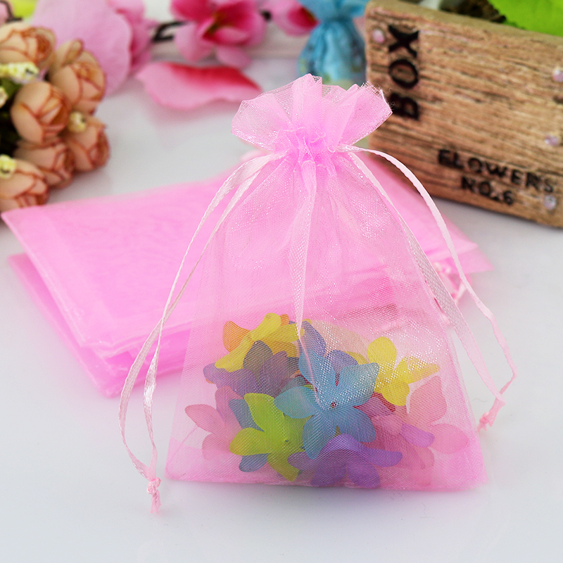 Hotsale 100pcslot Pink Organza Bag 7x9cm Drawable Wedding Favors Candy Jewelry Packaging Bag Pouches Small Organza Gift Bags