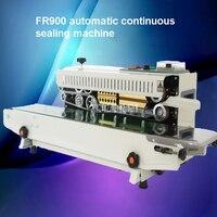 FR900 automatyczna maszyna do uszczelniania ciągłego worek na żywność z tworzywa sztucznego worek z folii aluminiowej Film maszyna uszczelniająca 220V 500W 0 12 m/min 5 12mm w Owijarki od Narzędzia na