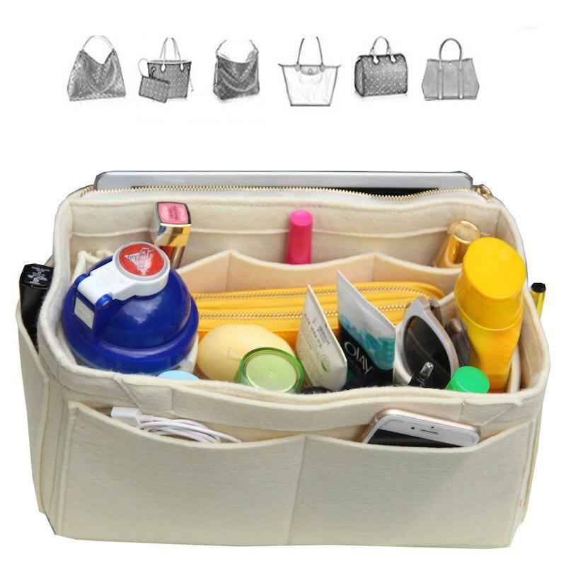 Customizable Purse Insert Felt Tote Bag Organizer(Invisible Handles,Detachable Water Bottle Holder) цена