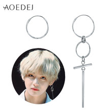 AOEDEJ V BTS Earrings DNA Korean Earrings Long Men Bangtan Boys V DNA Stud Earring For Women Men BTS Album Accessories BTS Kpop(China)