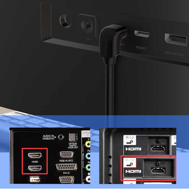 4K HDMI 2.0 Kabel Sudut 90/270 Derajat HDMI untuk Kabel HDMI 2K X 4K 1M 1.5M 2M 3M 5M 1080P 3D untuk TV PC Proyektor PS3 PS4 Laptop