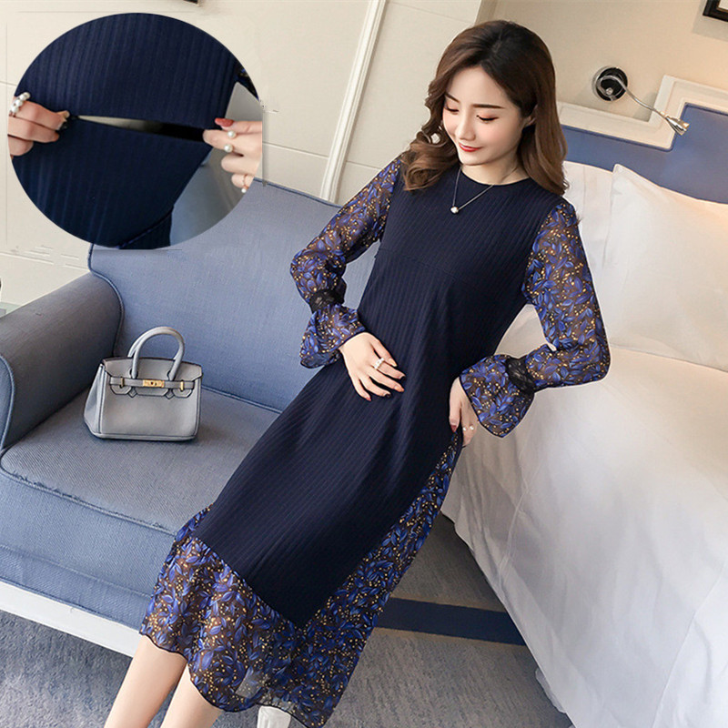 Hot Maternity Dresses Breastfeeding Clothes Winter Nursing Dress For Pregnant Women Plus Size Pregnancy Vestido Chiffon Clothing trendy plus size stretchy letter decorated chiffon dress for women