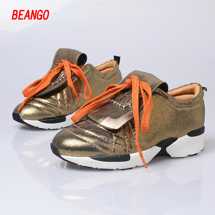 BEANGO 2017 Spring Autumn Casual Women Shoes Lace Up Metal Decor Thick Bottom Leather Shoe Breathable Travel Loafers Female 2017 spring autumn new genuine leather lace up oxford shoes female thick bottom flats shoes europe style martin shoe obuv