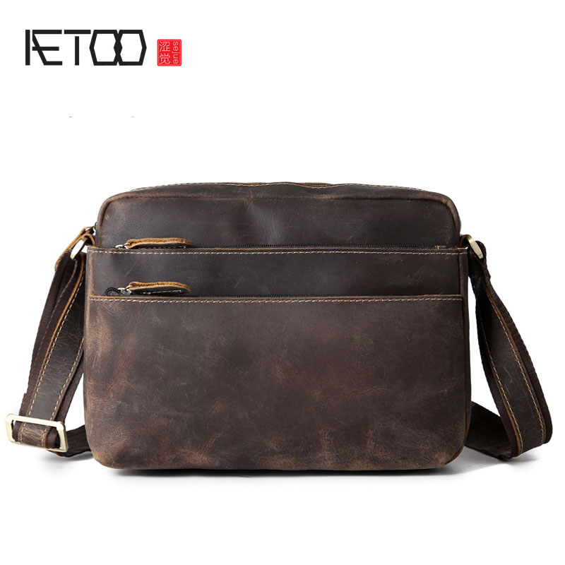 AETOO Men's first layer of cowhide crazy horse skin pocket bag shoulder bag iPad bag mad horse skin vintage halter criss cross bowknot slimming corset for women
