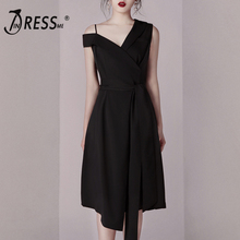 INDRESSME 2019 New Fashion Off the Shoulder Black Sashes Women Celebrity Party A- Line Midi Dress Sexy Chic Wholesale INS