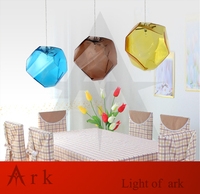 Free Shipping Hot Selling 3 Pcs Crystal Glass Lighting Ice Cube Pendant Lamp Polygon Glass Stone