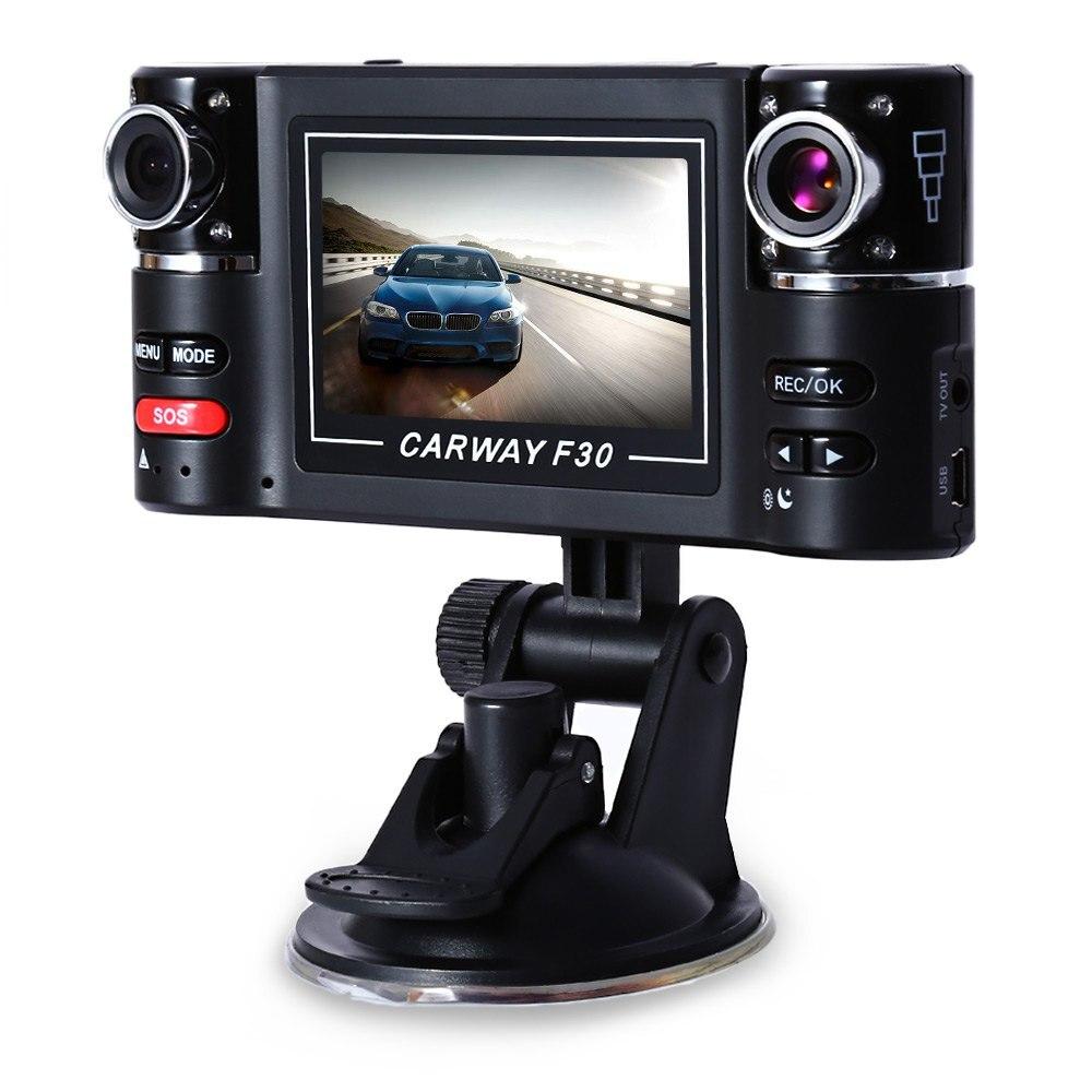imágenes para F30 HD Dual Lente de La Cámara 2.7 pulgadas Cámara Del Coche DVR Noche Parabrisas de Conducción visión DVRs g-sensor Video Recorder Dash Cam Retrovisor