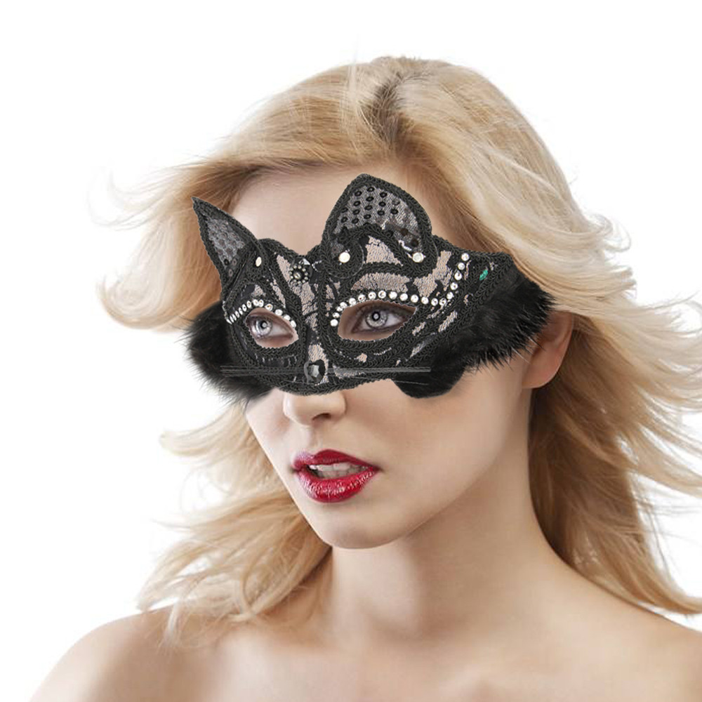 Safety delicate made  Masquerade Mask Women's Sexy White Black Glitter Fancy Cat Lace Eye Mask Funny Gift  Z0304