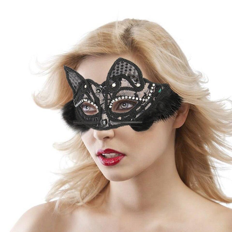 Black sequin eye mask Masquerade Cat Women Party Fancy Dress Girls Womens Kids