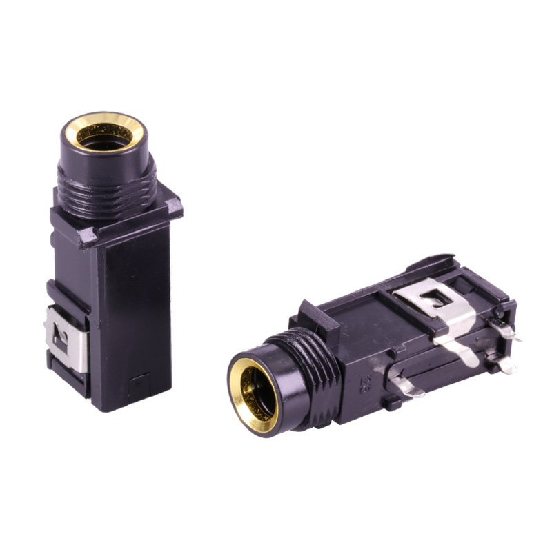 3Pcs/lot 6.35mm Jack stereo female socket connector speaker plug jack audio adapter 4pin microphone headphone