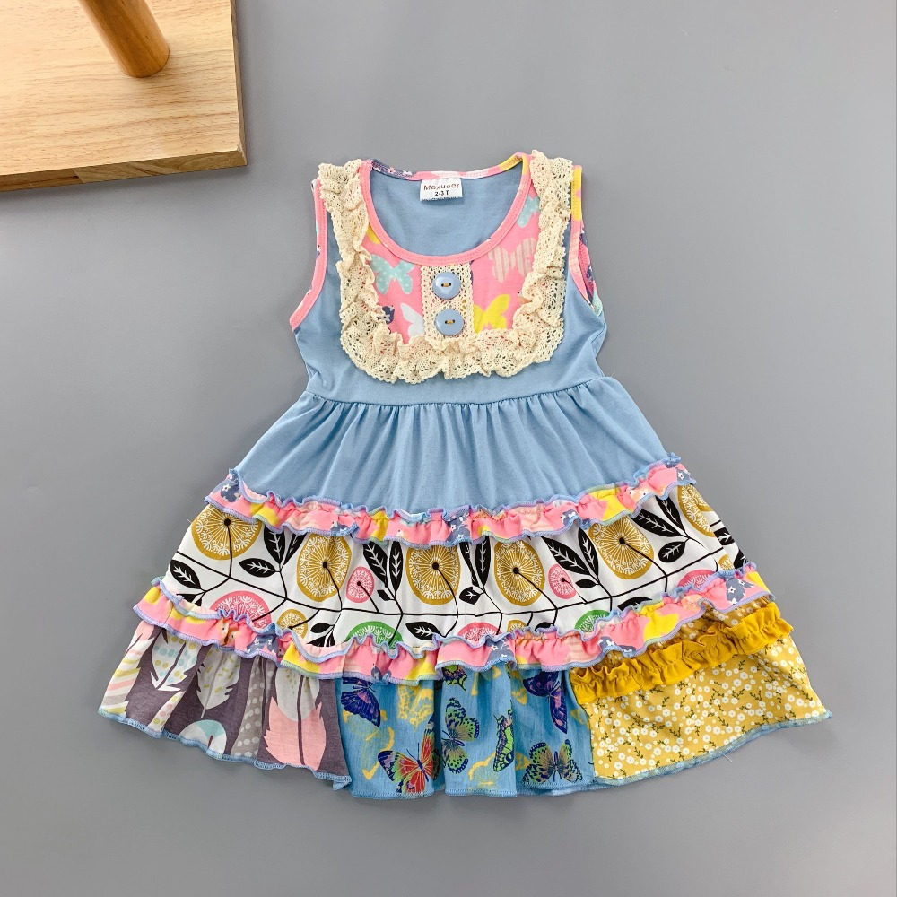 Cotton Baby Girls dress Summer floral blue Sleeveless Infants & toddler Kids ruffles dresses for kids cute princess dress ems dhl free shipping toddler little girl s 2017 princess ruffles layers sleeveless lace dress summer style suspender