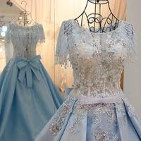 Prom dresses for black girls beaded crystals tassel A line satin short sleeves long evening formal dress light blue