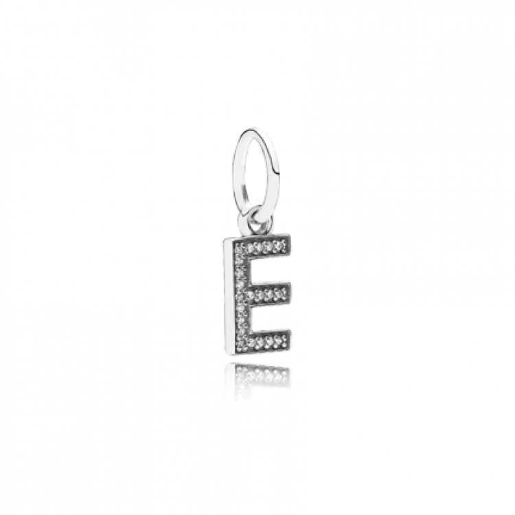 Letter B Silver Dangle With Cubic Zirconia