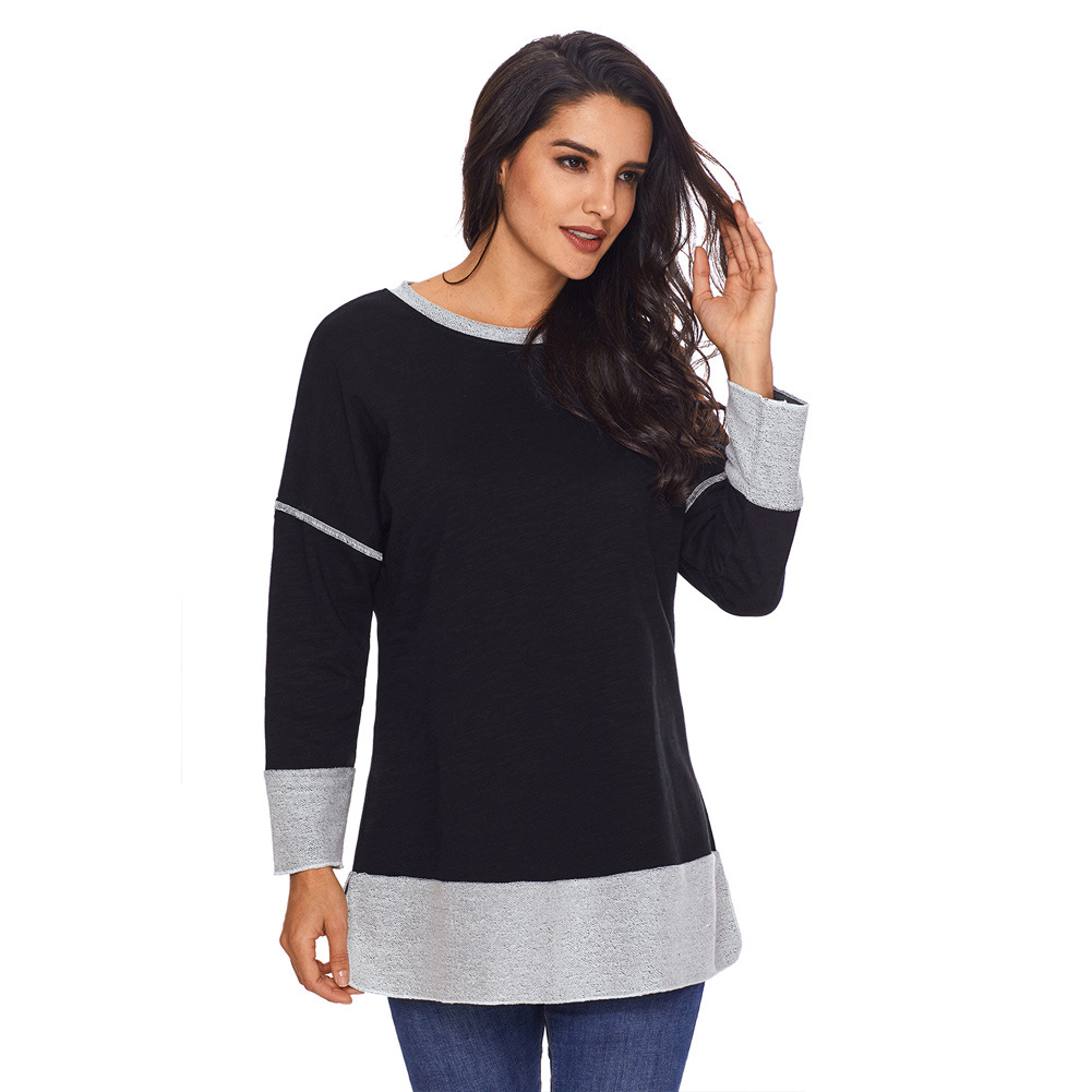 Women's round Neck Long Sleeve Casual Comfortable Top the of European And American Winter Women(China)