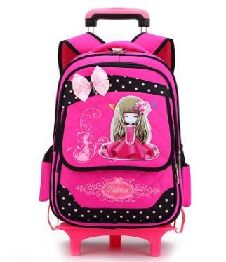 Sac à dos roulant d'école d'enfants sacs de bagage de voyage sac à dos de chariot d'école pour des filles sac à roulettes pour le sac de chariot d'école sur des roues