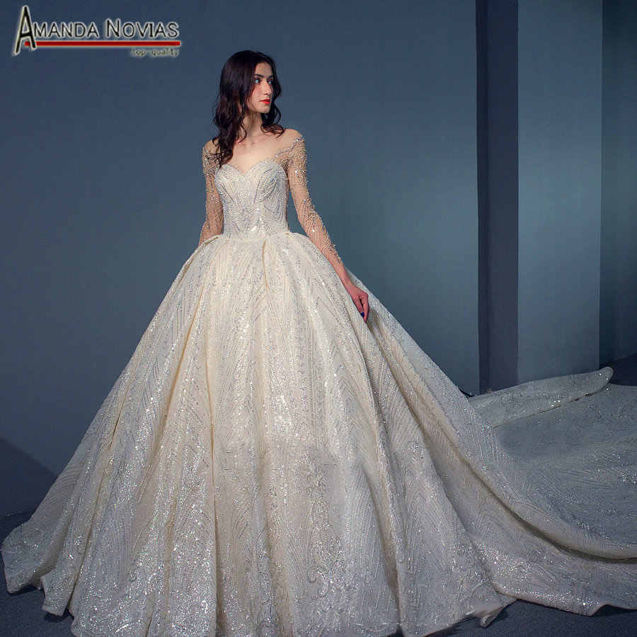 Full beading shinny wedding dress with long sleeves high quality