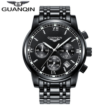 2016 New Luxury Watch Brand GUANQIN Quartz Watch Men Steel Fashion Clock Male Waterproof Watches With Complete Calendar