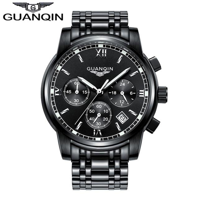 fae5950b17d 2018 Novo Relógio De Luxo Marca GUANQIN Homens Relógio De Aço de Quartzo  Moda Relógio Masculino