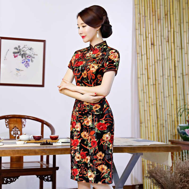 1cb039c5263 Flower Chinese Traditional Women's Velvet Qipao Spring New Classic Short  Sleeve Cheongsam Sexy Slim Daily Dress