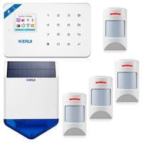KERUI W18 433 МГц 4 языковая система охранной сигнализации Беспроводная 1,7 дюймовая IOS/Android APP управление Wifi GSM с солнечной беспроводной сирены