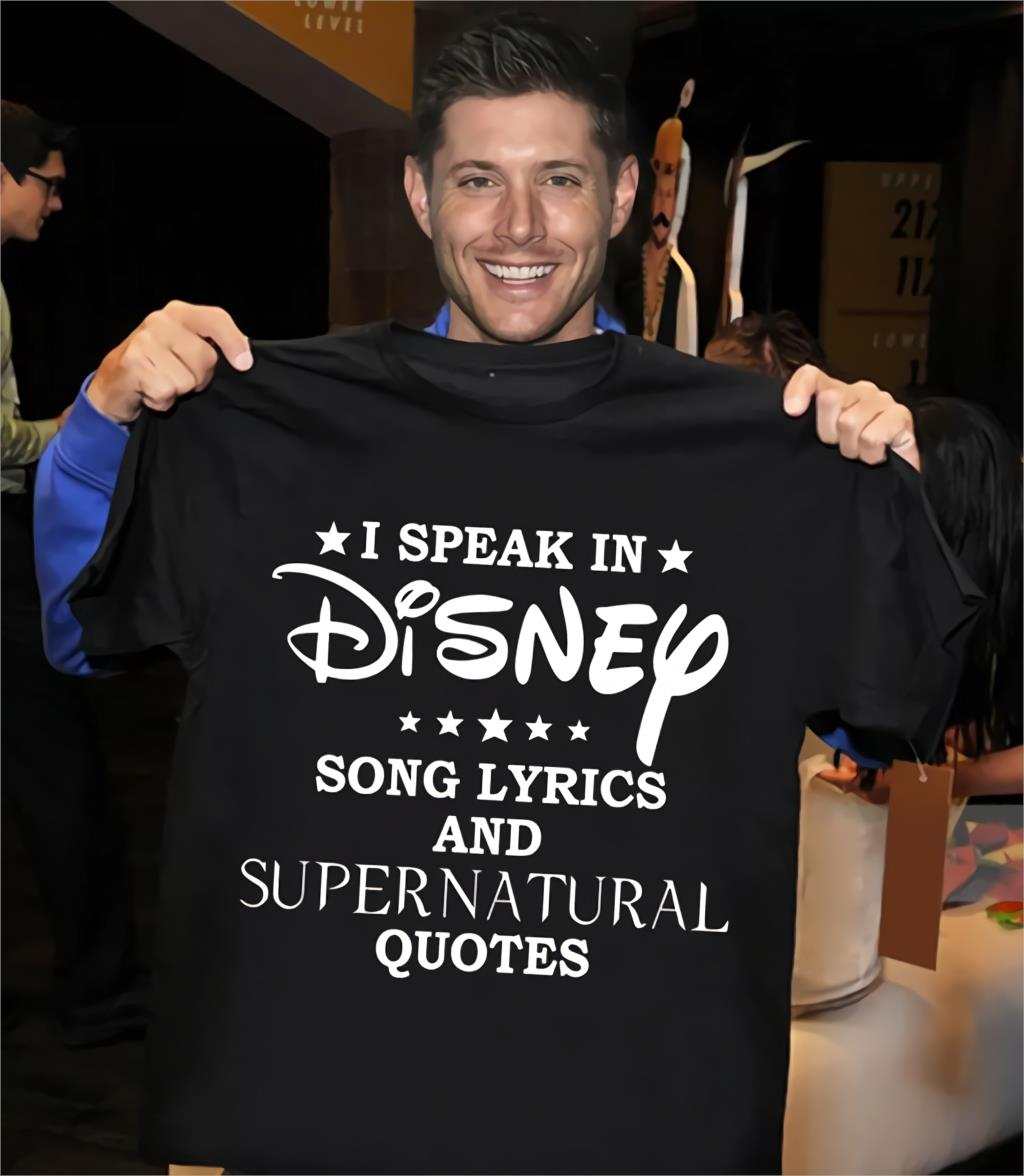 I Speak In Disnep Song Layrics And Supernatural Quotes 2019 Summer Men's Short Sleeve T-Shirt image