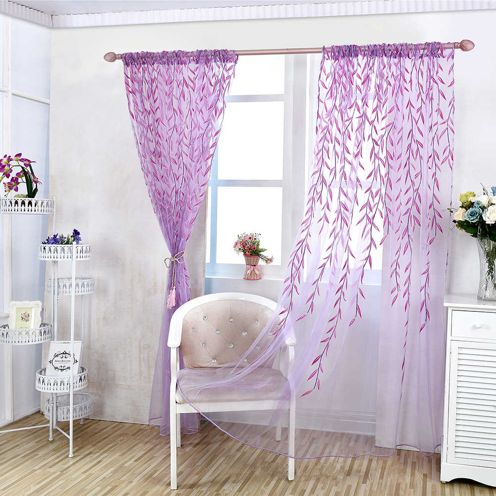 Bedroom Curtains Sale Hot Sale Curtains For Bedroom Kitchen Sheers Curtains Willow Leaf Tulles 3d Window Sheer Curtains For Living Room Cortinas