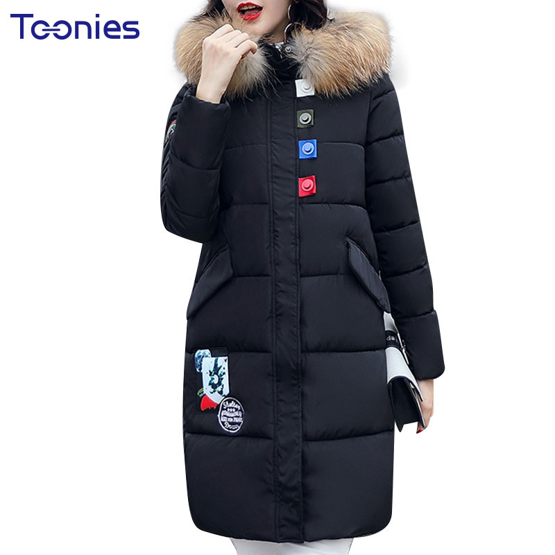Long Cotton Padded Coat Fashion Down Jacket Womens Outwear Parkas HIgh Quality Winter Faux Fur Hooded Women Cotton Jackets qazxsw fashion casual denim jackets winter coat women faux fur hooded thick warm outwear long cotton padded jeans parkas zj961