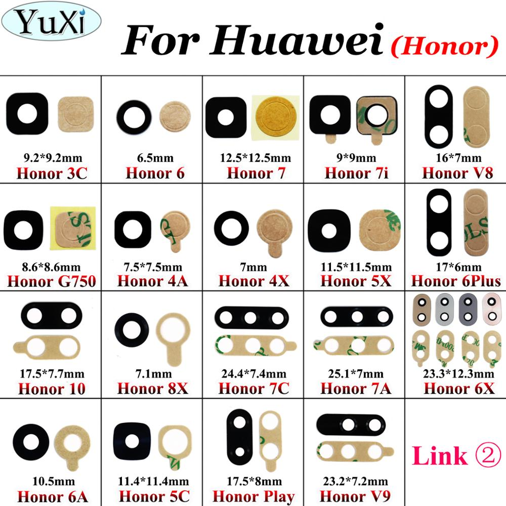 YuXi Housing Rear Back Camera Glass Lens With Adhesive For Huawei Honor 6A 6X 5C V9 Play 7 7i 7C 4A 4X 5X 8X 10 V8 6 Replacement