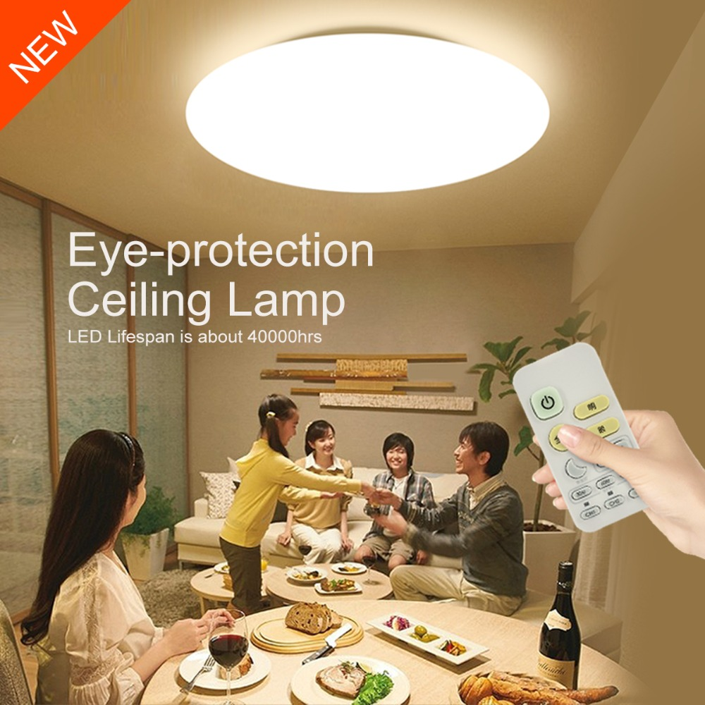Modern Smart Remote Control Eye Protective LED Ceiling Lamp 10 Level Dimming Bedroom Living Room Kitchen Lights Fixture