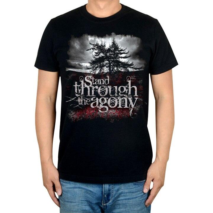 2 дизайна, брендовая музыкальная футболка Agony Rock, хлопок, панк, фитнес тяжелый рок, металлические черные рубашки, большие и высокие - Цвет: 1