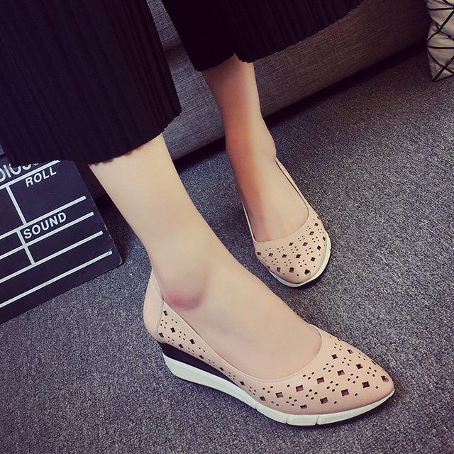 Free shipping empty strand wild pointed platform shoes thick crust slope with a single shoe heels shallow mouth