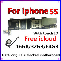 100% Original unlocked for iphone 5S Motherboard Without Touch ID/With Touch ID,for iphone 5S Logic boards,16gb / 32gb / 64gb