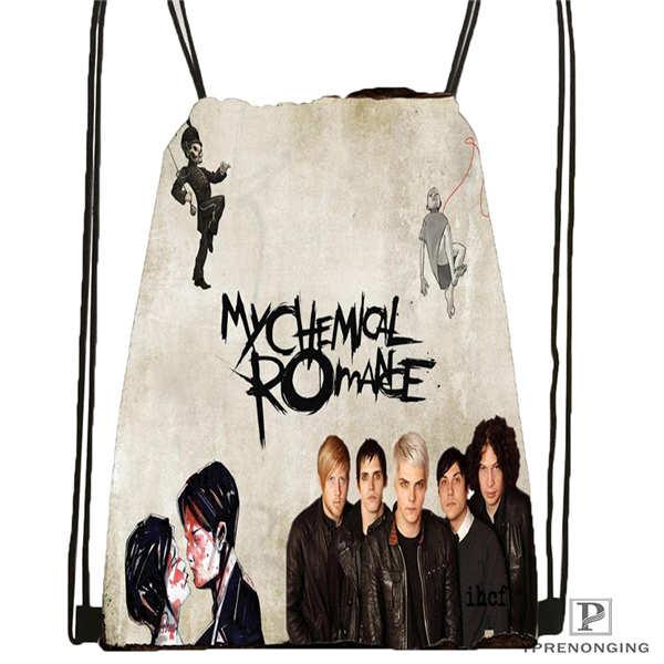 Custom Its_my_chemical_romance@03- Drawstring Backpack Bag Cute Daypack Kids Satchel (Black Back) 31x40cm#180611-03-110