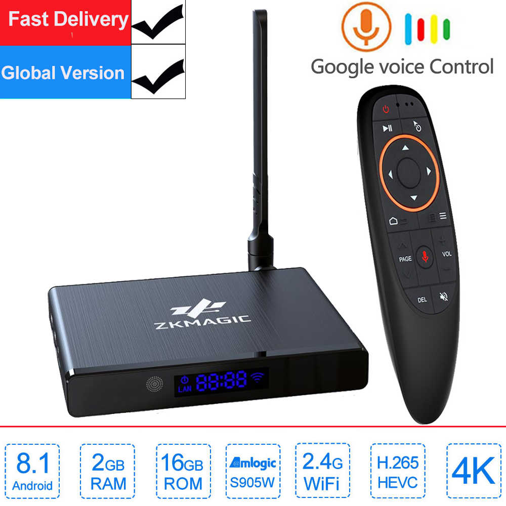Caja de TV Android Z1W Android 8,1 caja de TV inteligente 2GB 16GB Amlogic S905W Quad Core 2,4 GHz WiFi set top box media player Google tv box