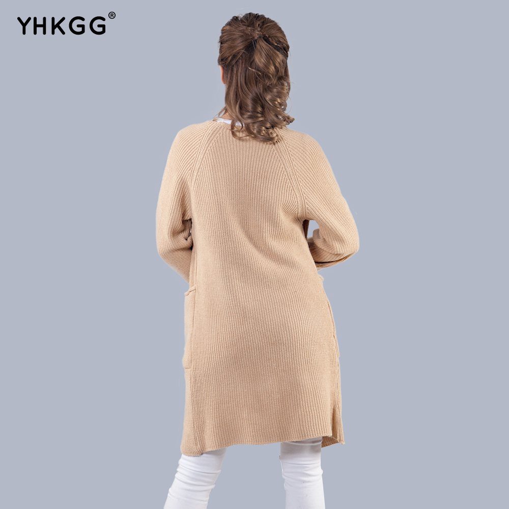 YHKGG 2017 New Women Autumn Knitted Cardigan Slim Pocket Loose Solid Colors Knit Sweater Long Sleeve Outwear Coat