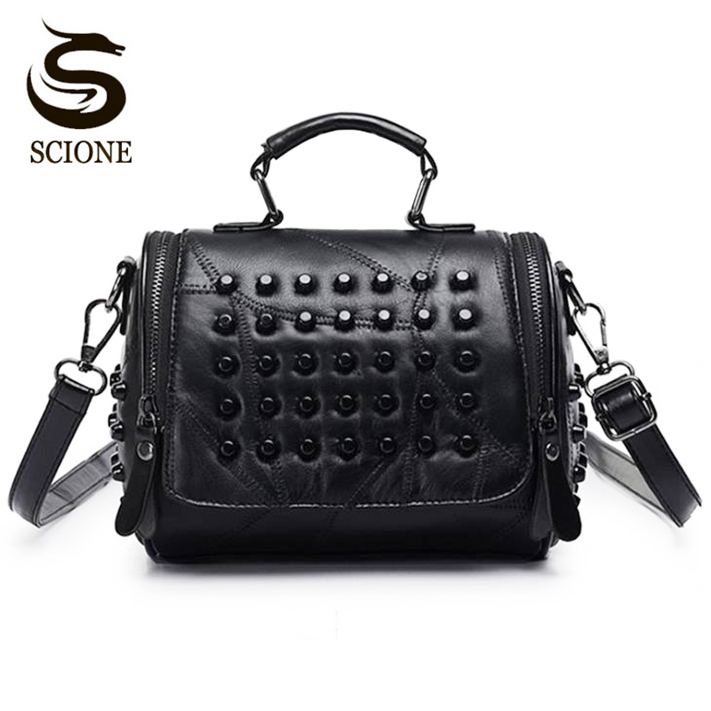 Hot Fashion Women Bag Rivet Studded Shoulder Bag Vintage Style PU Leather Handbags Female Crossbody Messenger Bags Tote JXY769