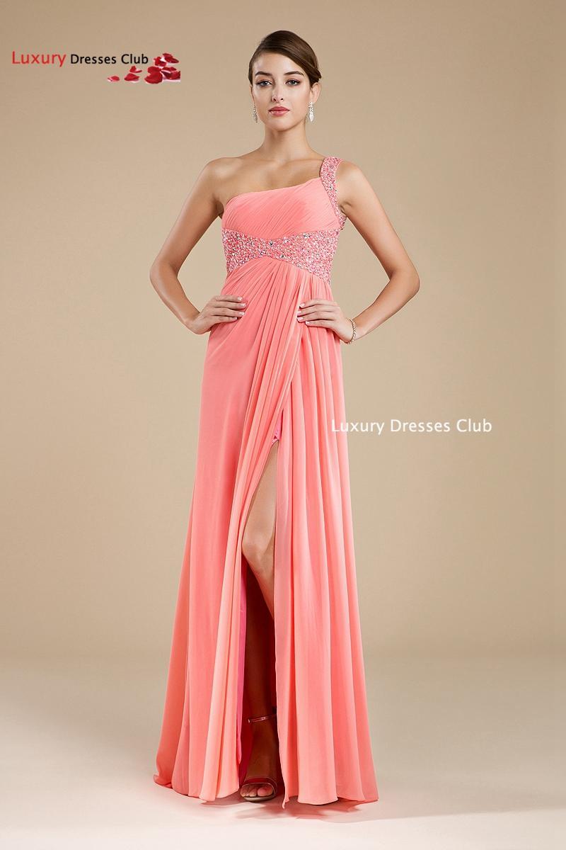 Gasa Larga Sandía Rosa Color Coral Prom Vestidos 2016 Nuevo