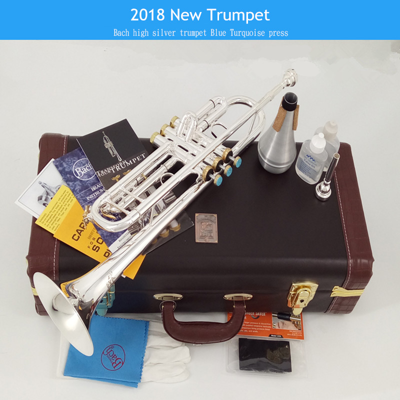 2018 New 100% Genuine American Bach B Flat Trumpet Musical Instrument LT197S-100 One Speaker Professioner Beginner Free shipping trumpet bb bach trumpet for sale lt180s to 37 instrument b surface silver plating exquisite design durable wholesale 2016 new