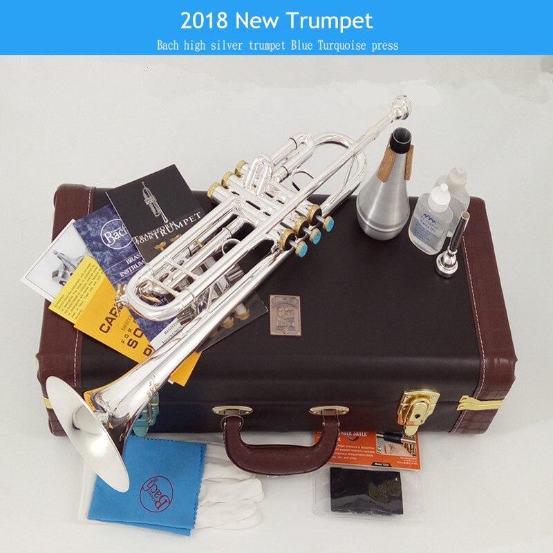 2018 Nouveau 100% Véritable Américain Bach LT197S-100 B Trompette Plat Musical Instrument Un Haut-Parleur Professioner Débutant Livraison gratuite