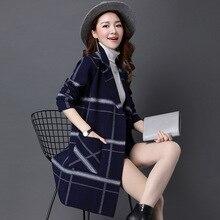 2018 Faux Fur Jacket Plaid Shirt Coat wool Womens Wool Slim Ladies Winter Warm